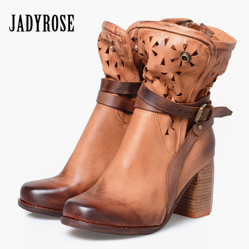 Jady Rose Hollow Out Women Ankle Boots Chunky High Heel Booties Genuine Leather Straps Botas Mujer Women Pumps Martin Boots jady rose mixed color women ankle boots pointed toe chunky high heel booties suede lace up botas mujer women pumps
