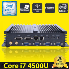 HYSTOU sin ventilador Industrial Mini PC Win10 Intel Core i7 4500U 2 * Intel Gigabit Lan 6*6 * RS232 resistente computadora Linux 3G Wifi 2 * HDMI(China)