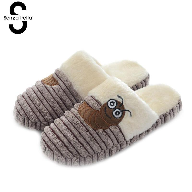 Senza Fretta Men Shoes 2018 New Indoor Warm Plush Slippers Home Thick Bottom Men Slippers Cute Caterpillar Loves Men Slippers senza fretta winter slippers home warm cotton slippers with bag heel animal pattern plush warm home slippers cute women shoes