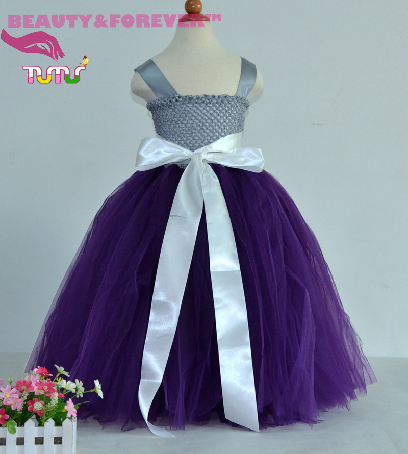 7fb279b67bb Lined Silver Gray Crochet Top Dark Purple Tulle Flower Girl Tutu Dress with  Rrmovable Ribbon Sash-in Dresses from Mother   Kids on Aliexpress.com