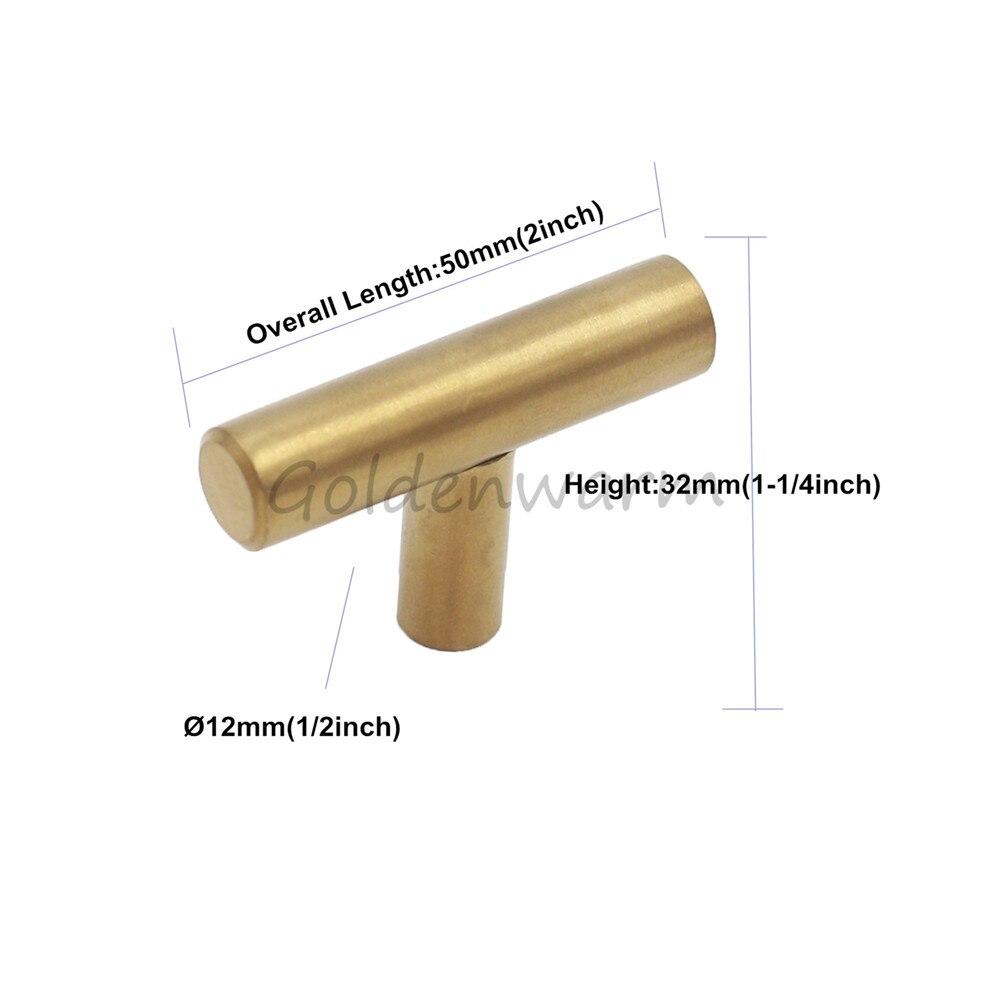Brushed Brass Gold Cabinet Handles Goldenwarm Furniture Hardware T ...