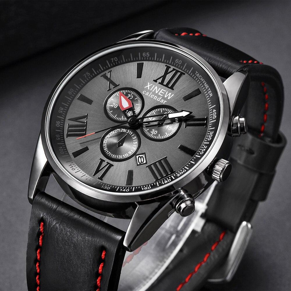 XINEW Man Watch Leather Band Sports Date Analog Alloy Military Quartz Watches Mens 2019 Men Wristwatch Clock Erkek Kol Saati