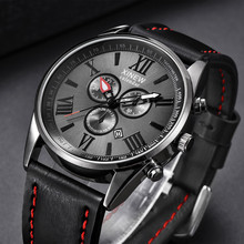 XINEW Man Watch Leather Band Sports Date Analog Alloy Milita