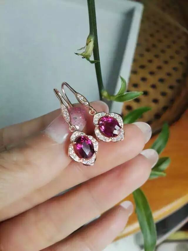 natural red garnet stone drop earrings 925 silver Natural gemstone drop earring women personality drop Earrings for engagement цена