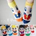 12 par/lote estilo coreano calcetines calcetines de dibujos animados calcetines de algodón cortas de Sailor Moon mujeres Transpirable lindo