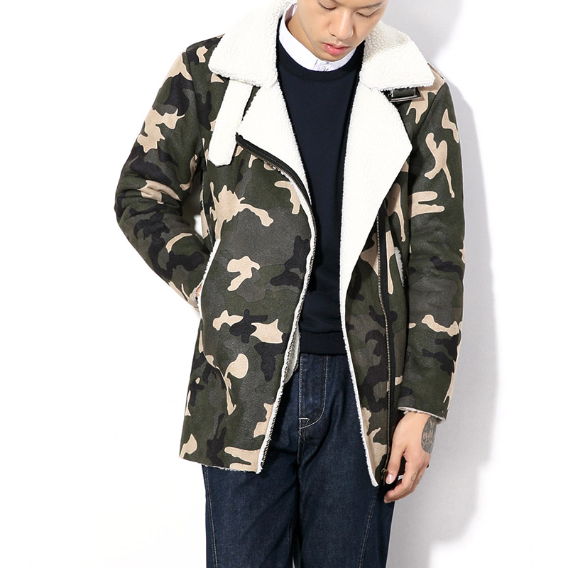 new winter 2016 fashion casual Japanese lambs wool coat Korean Slim and long sections personalized simple trend camouflage M-5XL