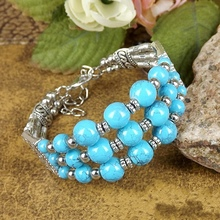 Bohemia Ethnic Fusion Tibetan Silver Plated Bracelet Red /Blue Turquoise Stone Round Glass Beads Bangle Carving Bracelet A203G moov now fusion red