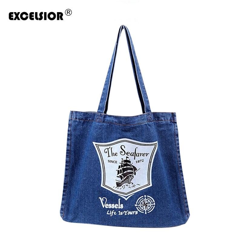 EXCELSIOR Women Denim Tote Bag Casual Solid Canvas Jean Large Capacity Top Handle Bag Zipper Soft Fabric One Shoulder Bags sac