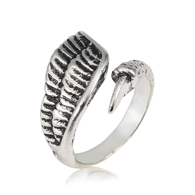 Vintage Gothic Wing Ring Punk Men Hip Hop Wings Eagle Claw Opening Tail Rings Cool Man Titanium Steel Biker Jewelry Anillos
