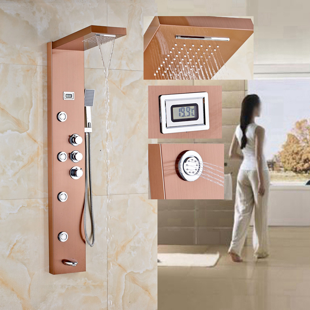 Aliexpress.com : Buy Rose Gold Thermostatic Shower Column Jets Tub ...