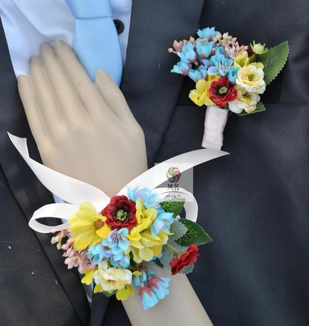 Handmade Wedding Groom Best Man Boutonniere Bride Bridesmaid Hand Wrist  Flower Artificial Flowers Wedding Supplies Prom Corsage 8e049f77370e