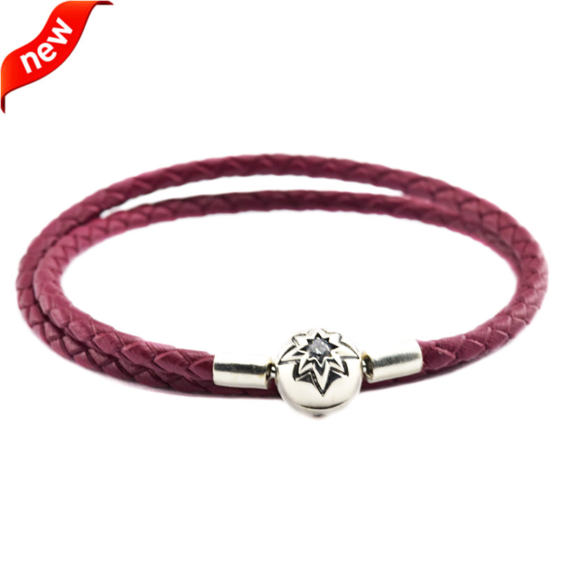 Genuine 925 Silver Jewelry Bracelets for Women DIY Fits Beads Charms Burgundy Leather Bracelet with Silver Starry Sky Clasp