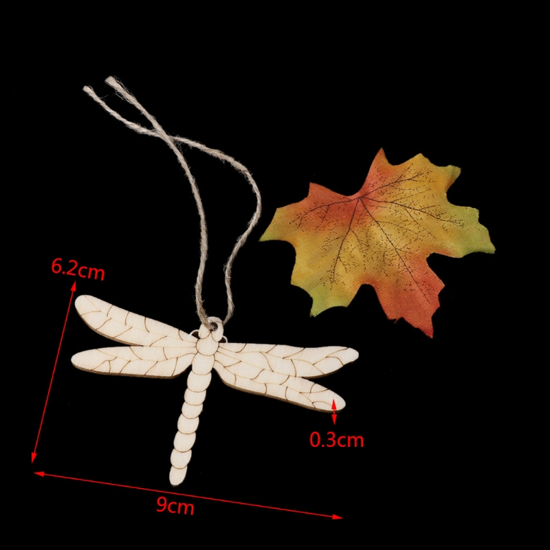10PCS Dragonfly Easter Wooden Cute Pendant Wall Door Home Party Hanging Ornament in Party DIY Decorations from Home Garden