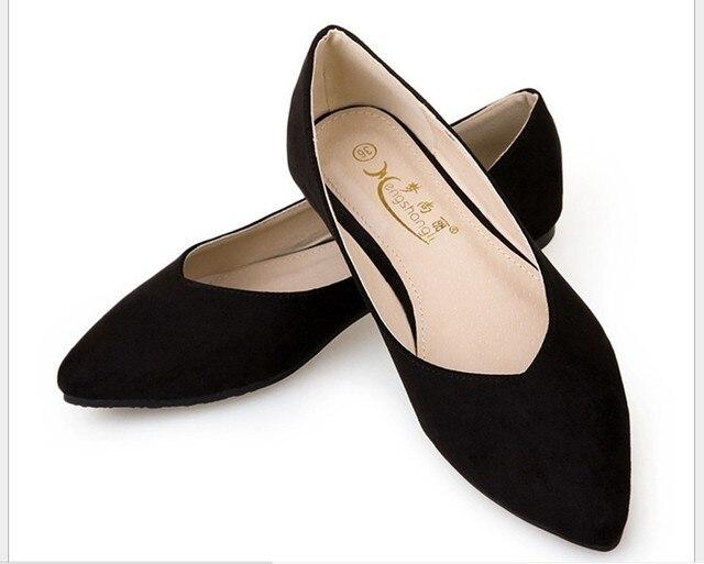 Мода Новые Женщины Повседневная Острым Носом Мокасины Балетки Балерина Плоские Туфли 13 Цвета Плюс размер 34-43