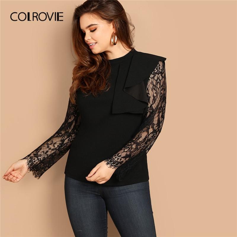 COLROVIE Plus Size Black Mock-neck Eyelash Vintage Lace   Blouse     Shirt   Women Clothes 2019 Panel Ruffle   Shirts   Office Ladies Tops