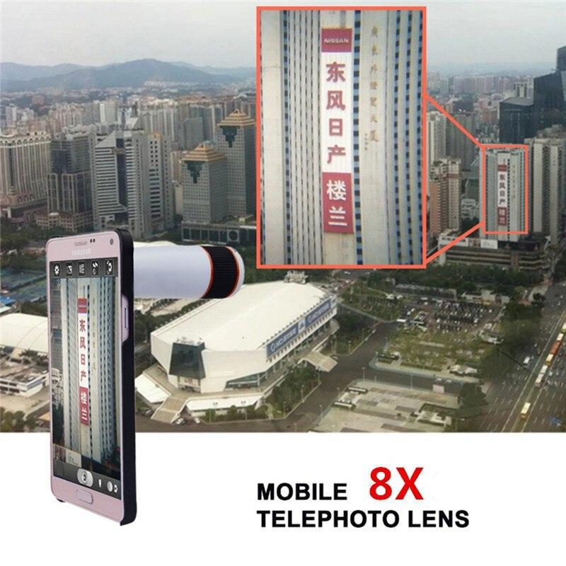 16 New 10in1 Phone Camera Lens Kit 8x Telephoto Lens + Wide Angle + Macro Lens +Fish Eye +Selfie Stick Monopod + Mini Tripod 6