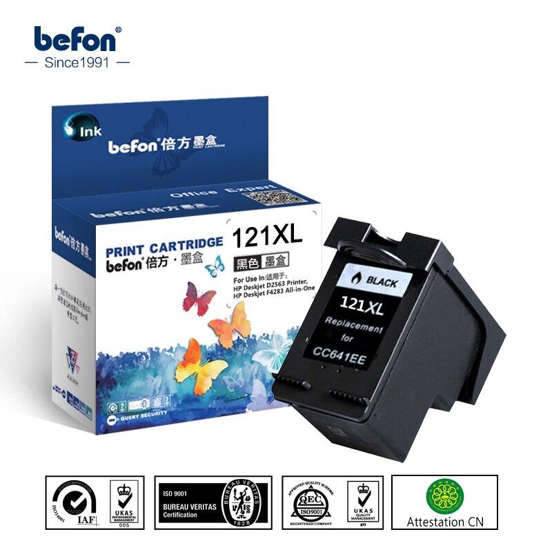 Befon Conmpatible 121XL cartucho de tinta negro repuesto para HP 121 Deskjet serie D2563 F4283 F2423 F2483 F2493 F4213 F4275 impresora
