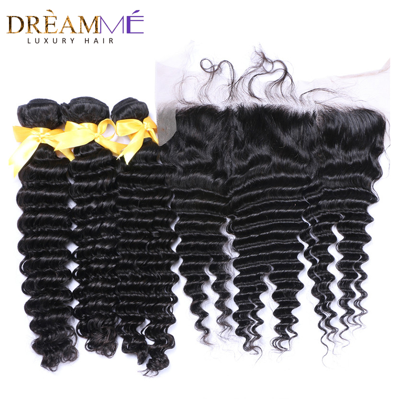 kinky curly human hair extension with 13x4 lace frontal closure (1)