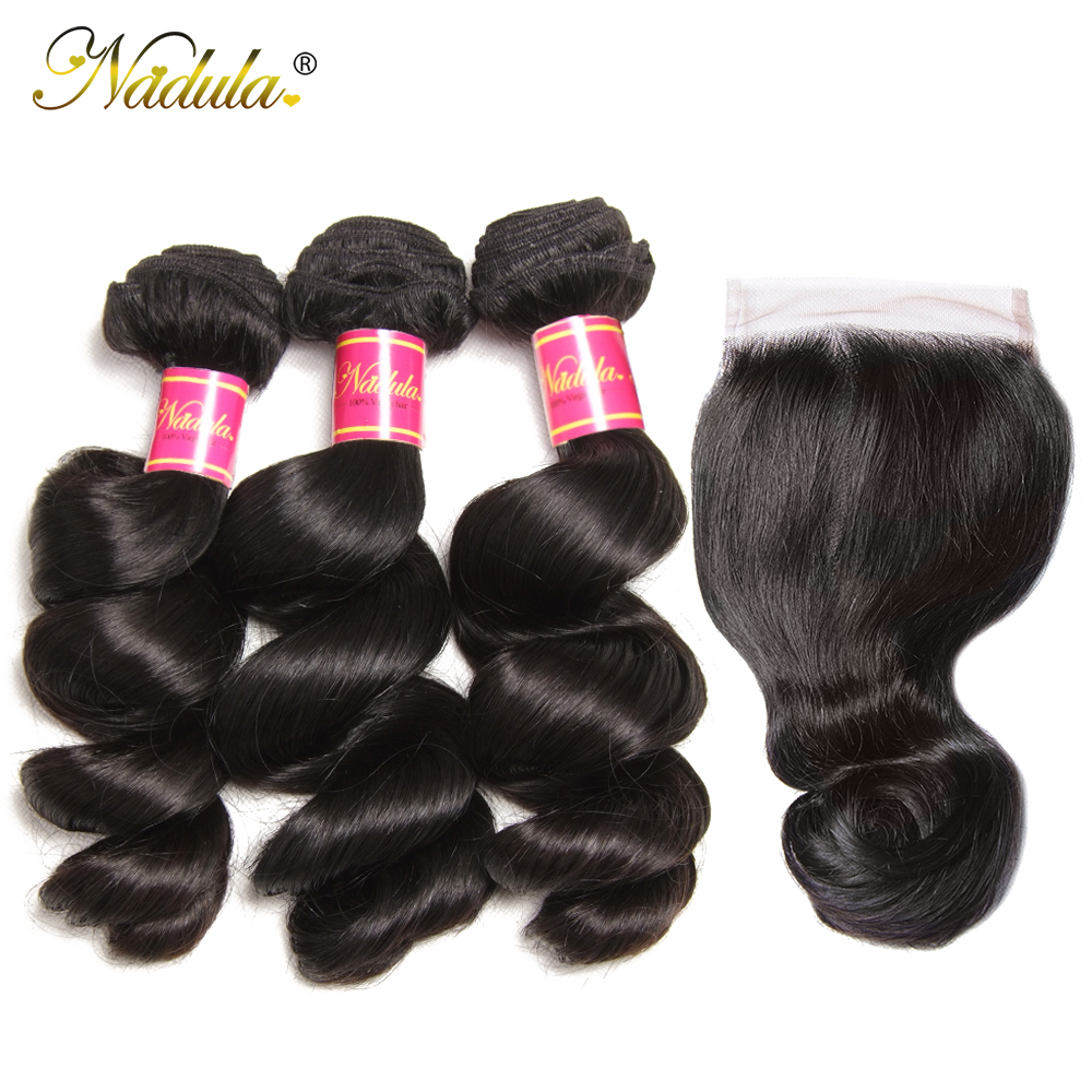 Nadula Hair  Loose Wave Bundles With Closure  Bundles With Closure 4*4 Swiss Lace Closure With Bundles 3