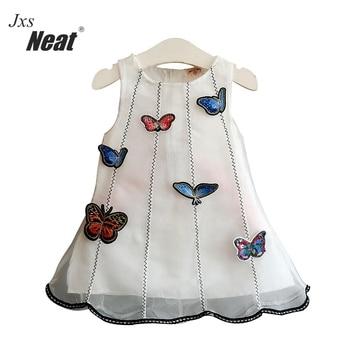Girl white butterfly dress 2018 summer sweet girls cloth three-dimensional fabric patchwork veil gauze dress vest dress Y5002 conjuntos casuales para niñas
