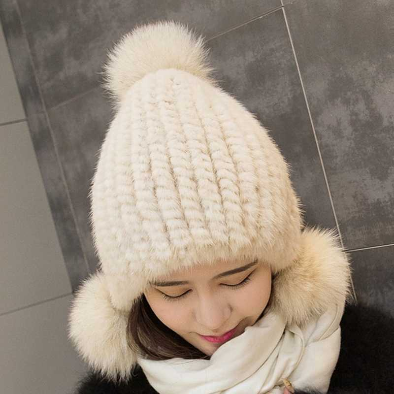 411b34558f7 ... 2017 new fashion Russia Women causa winter knitted mink fur hat beanie  ear protector caps fox ...
