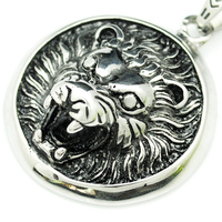 Fashion Silver Lion Pendant Necklace For Men Stainless Steel Charm Punk Rock Hip Hop High Quality