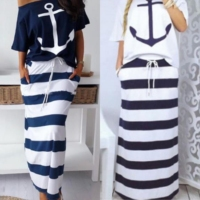 Women Two Piece Sets Boat Anchor Print T Shirt & Striped Skirt Sets Casual Ankle Length Fashion Off Shoulder Maxi Striped Skirt