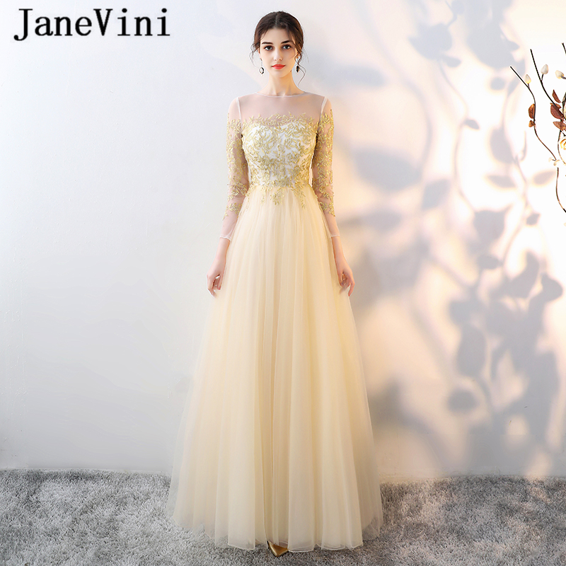 JaneVini Elegant Long   Bridesmaid     Dresses   with Sleeves A Line Gold Embroidery Appliques Sheer Back Tulle Prom Gowns Floor Length