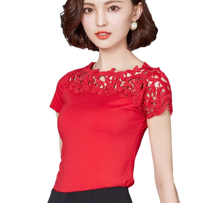 2017 Fashion Short Sleeve Shirt Elegant Ladies Tops Women Cotton Blouse Shirt Lace Patchwork Plus Size Womens Clothing 811 30