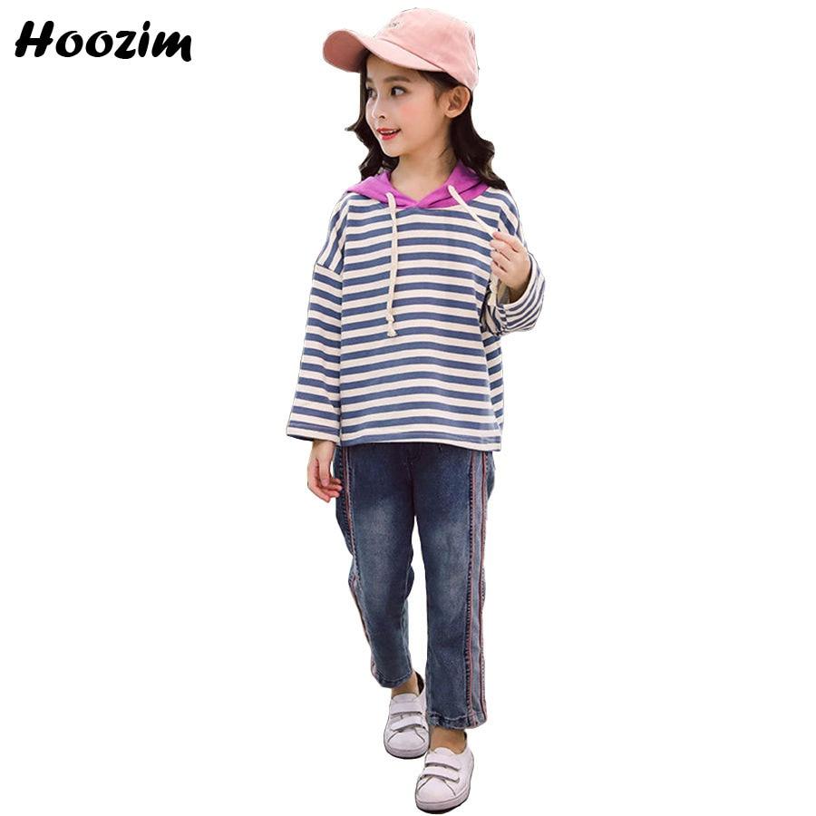 Spring Girls Clothing Set 9 10 11 Years Fashion Stripe Sweatshirt+Denim Pants Children Autumn Suit For Girls Cute Kids Clothes kids stripe side raw hem denim pants