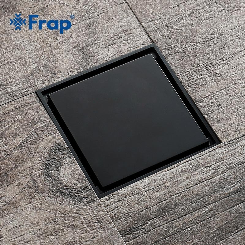 Frap Tile Insert Square Floor Drain Bathroom invisible 10cm*10cm Anti-odor Floor Drain Bathroom Black Retro Shower Drain Y38093 floor