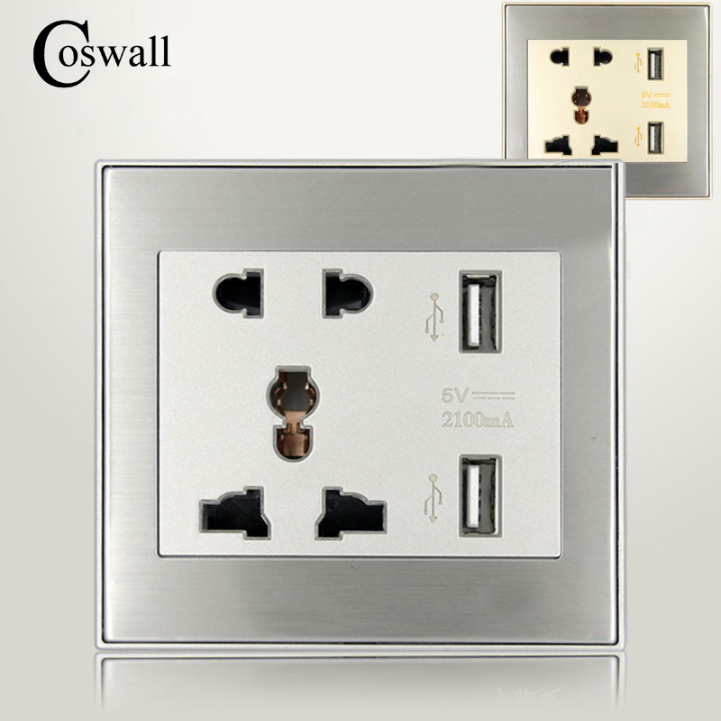 Coswall Stainless Steel Panel 5 Hole Universal Wall Socket With 2 USB...