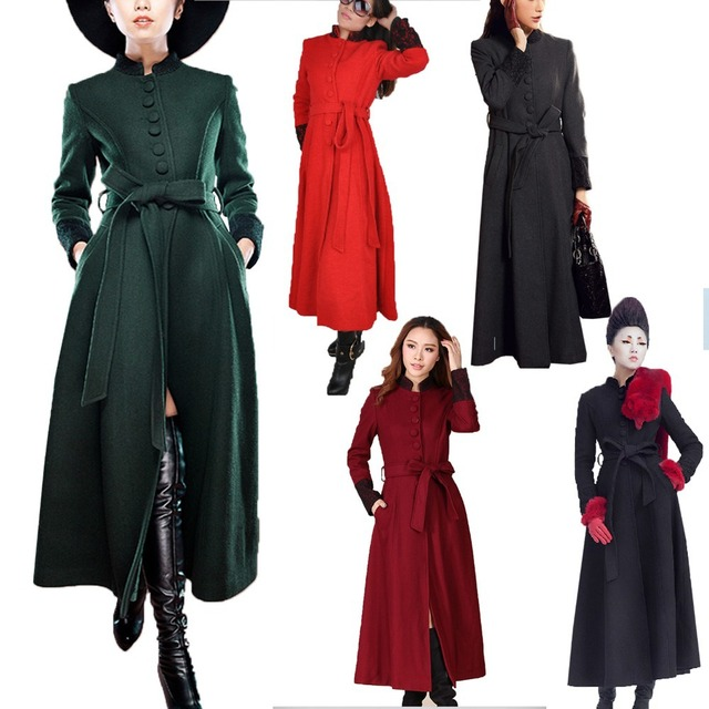 30c5b14d4 US $69.99 |Womens Outerwear Long Coats Belted Ankle Dress Vintage Slimming  Full Military Jacket Floor Length Coat Sz XXS L FREE SHIP 8011#-in Wool &  ...