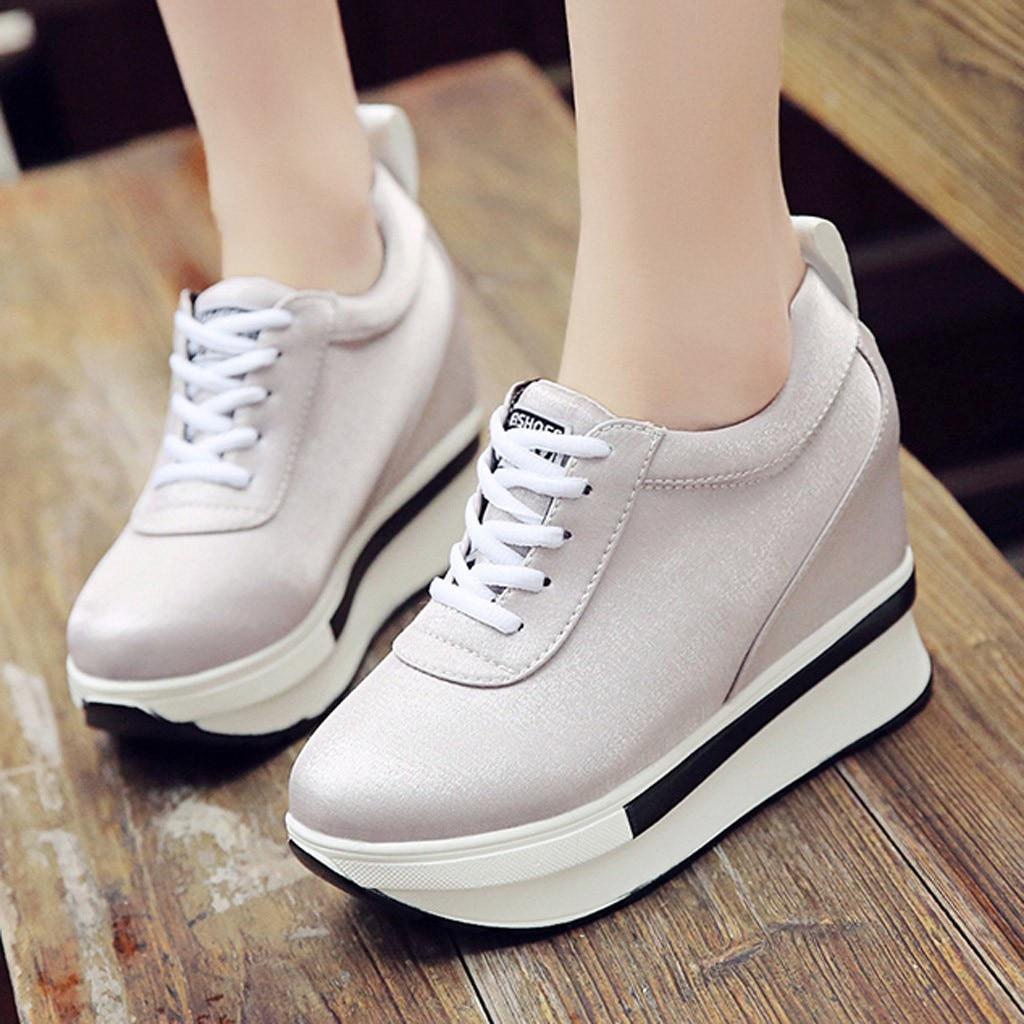 US $11.65 32% OFF|leather platform shoes women sneakers off white shoes casual summer women shoes platform zapatos de mujer de moda 2019#G3 in Women's