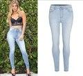 Casual bolsos de jeans de cintura alta de mulheres calças de comprimento calças jegging plus size feminino