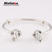 Mistletoe 925 Sterling Silver Mickey & Minnie Open Bangle Bracelet European Jewelry