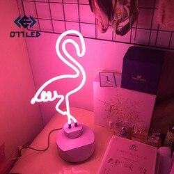 Luz de neón cartel de neón Decoración LED luz nocturna nube Arco Iris forma de flamenco lámpara de escritorio colorida para iluminación de boda interior