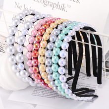 Pearl Hair Band Women Fashion Solid Pink White Blue Headband Korean Style Dropshipping 2019 Accessories