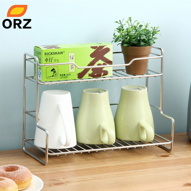 ORZ L Shape Stainless Steel Storage Rack Mutifunctional 2 Layer ...