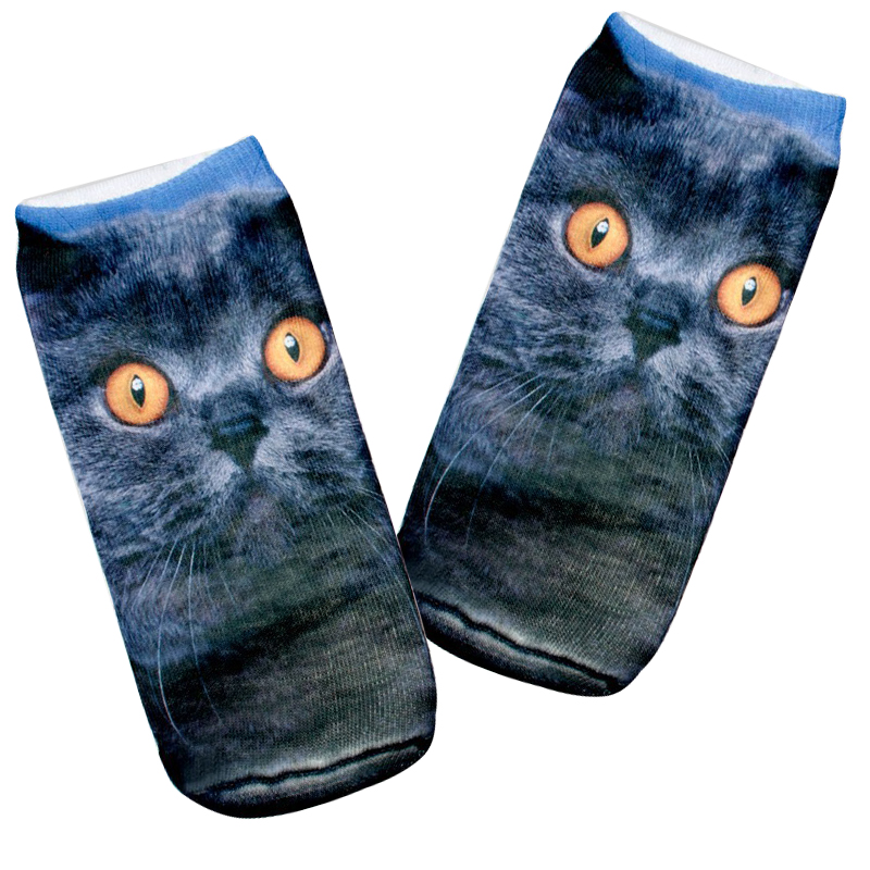 Underwear & Sleepwears High Quality Fashion 3d Socks For Women Men Unisex Big Eye Blue Cat Charactor New Arrivals