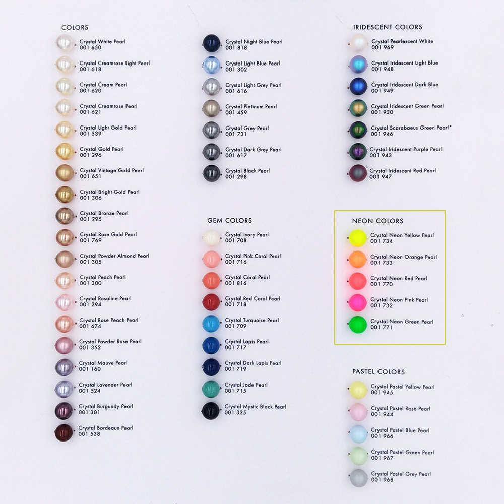 Cristales originales de Swarovski 5810, Color neón, perlas mate, cuentas con orificio, fabricación de joyas, coser cuentas, tejer DIY, Nail Art
