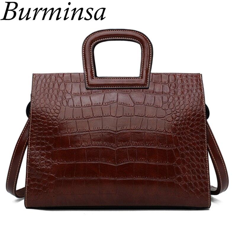 Burminsa Crocodile Pattern Tote Women Handbags Brown Female Shoulder Bags Vintage Briefcase Ladies Top Handle Bags