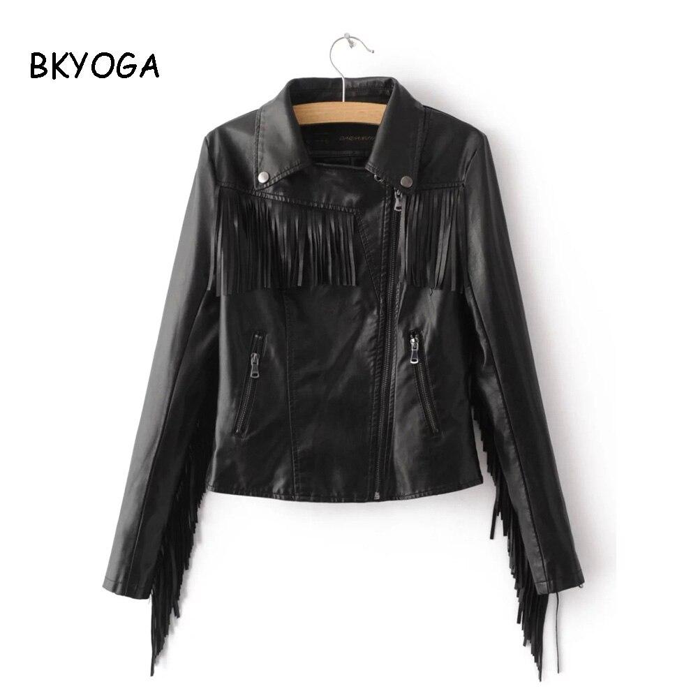 Women Punk PU Faux Leather Tassel Fringe Street Motorcycle Short Jacket Coat Top