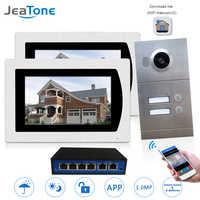WIFI IP Video Tür Sprechanlage Wireless Video Türklingel 7 ''Touchscreen für 2 Boden Wohnung/8 zone Alarm Unterstützung iOS