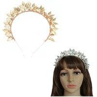 New Hair Accessories Shiny Golden Plated Leaves Tiara Crown Hairband Vintage Wedding Headdress Headband Hairwear Bridal