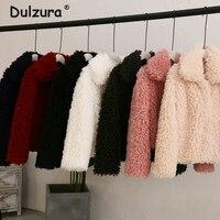 Curly Lamb Faux Fur Jacket Coat Women Turn Down Collar Furry Fake Fur Jacket for Women 2018 Winter Warm Fluffy Jackets Outerwear