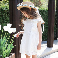 New Japan Korea Style Fly Sleeve Little Child Girls Clothing Comfortable Kids White Pink Dress Knitting