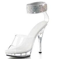 2016 ladies's footwear 5 inch rhinestone marriage ceremony footwear clear crystal excessive heels 13cm stiletto pole dance sandals