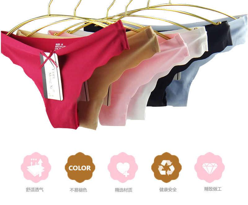 Pack de 6 pcs Solide d'une Seule pièce Sans Soudure Sous-Vêtements Femmes Traceless Culottes Sexy Ultra-mince Confort Dames Bref soie