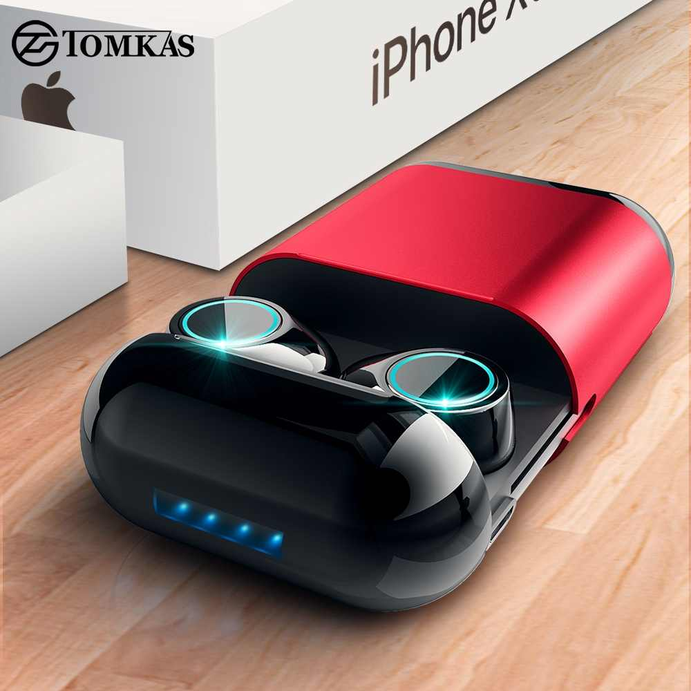Tomkas Bluetooth Headphone Tws Earbud Nirkabel Bluetooth Earphone Stereo Headset Bluetooth dengan Mic dan Pengisian Kotak